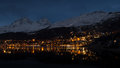 St moritz nightlife in winter time Royalty Free Stock Photography