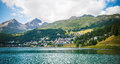 St moritz in switzerland panoramic view of Stock Image