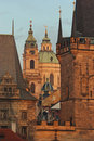 St. Nicholas church and towers of Charles bridge Royalty Free Stock Images