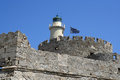 St nicholas lighthouse at rhodes island greece in Royalty Free Stock Images