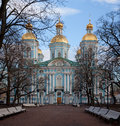 St nicholas naval cathedral in petersburg russia built in by the architect c chevakinskyfence Stock Photography