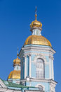 St nicholas naval cathedral saint petersburg orthodox facade fragment with golden domes russia Royalty Free Stock Images
