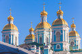 St nicholas naval cathedral saint petersburg russia orthodox facade fragment with golden domes Stock Photography