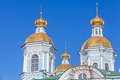 St nicholas naval cathedral st petersburg orthodox facade fragment with golden domes russia Stock Photos