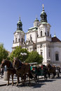 St. Nicolas Church on Old Town Square in Prague Stock Photo