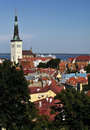 St Olaf's Church Tallinn Estonia in cityscape Royalty Free Stock Photography