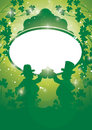 St pat drinkers saint patricks day background with leprechauns toasting Stock Photography