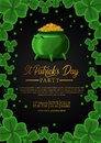 St patrick day banner template with illustration of shamrock clover leaves and golden coin in pot