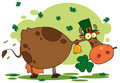 St. Patrick Day Cow with Shamrocks in Mouth Stock Photo