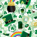 St. Patrick Day Green Seamless Pattern Stock Afbeelding