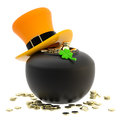 St patrick pot of coins and hat symbol made golden isolated on white Royalty Free Stock Photography