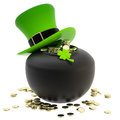 St patrick pot of coins and hat symbol made golden isolated on white Royalty Free Stock Photos