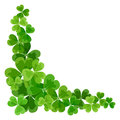 St patrick s corner border with shamrock green on white Stock Images