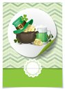 St patrick s day background with leprechaun hat clover pot of gold and green beer greeting card design template vector Royalty Free Stock Photo