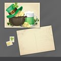 St patrick s day background with leprechaun hat clover pot of gold and green beer old postcard design template Stock Photo