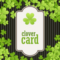 St Patrick's Day background. Vector illustration for lucky spring design with shamrock. Green clover border and square