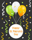 St patrick s day balloons and streamers patricks or saint greeting card with green white orange confetti eps file available Royalty Free Stock Photography