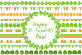 St. Patrick`s Day border garland with clover, shamrock, flags, bunting. Isolated on white background. Vector Royalty Free Stock Photo