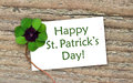St patrick s day card with leafed clover Stock Photos