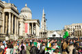 St patrick s day celebrations in london uk th march at trafalgar square central showing large crowds of people Royalty Free Stock Photo