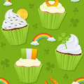 St patrick s day cupcakes seamless a pattern with patricks or saint sweet on green background useful also as design element for Royalty Free Stock Photo