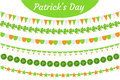 St. Patrick`s Day garland set. Festive decorations bunting. Party elements, flags, shamrock, clover. Isolated on white
