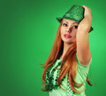 St Patrick's day Girl. Young woman with green hat Royalty Free Stock Photo