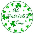 St. Patrick`s Day greeting card. Vector illustration with clover on white.