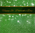 St patrick s day greeting glitter clover elegant and luxurious illustration ribbon with on a green and bokeh background with Stock Photography