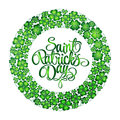 St. Patrick's Day greeting. Vector illustration. Clover wreath with lettering on white background Royalty Free Stock Photo