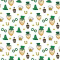 St Patrick`s Day hand drawn doodle Seamless pattern, vector illustration background