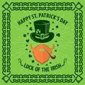 St. Patrick`s Day Holiday poster, banner, label, badge, emblem or greeting card design with hipster leprechaun.