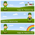 St patrick s day horizontal banners a collection of three wishing a happy patricks or saint with leprechaun in the nature eps file Royalty Free Stock Image
