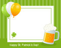 St patrick s day horizontal frame patricks or saint photo with a beer mug balloons and a four leaf clover on green background eps Royalty Free Stock Photo