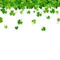 St. Patrick`s day horizontal seamless background with shamrock. Vector illustration.