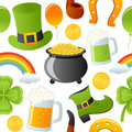 St patrick s day icons seamless pattern a with colorful patricks or saint on white background eps file available Stock Photos