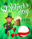 St. Patrick`s Day. Joyful jumping leprechaun.