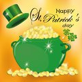With St. Patrick`s Day. Pot of gold, hat of clover. Beautiful background