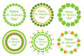 St. Patrick`s Day round frame with clover, shamrock, flags, bunting. Isolated on white background. Vector illustration