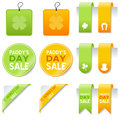 St patrick s day sale elements set collection of patricks or saint gift tags labels bookmarks stickers and corner ribbons in two Royalty Free Stock Photography