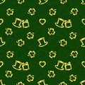 St.Patrick`s Day seamless repeat pattern,golden texture on dark green background Royalty Free Stock Photo