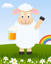 St. Patrick`s Day with Sheep Holding a Beer