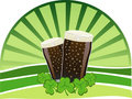 St. Patrick's Day - Stout beers with shamrocks Stock Photos
