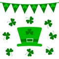 St. Patrick`s Day vector design elements set. Green hat with clovers and small flags on white.