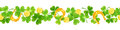 St. Patrick`s day vector horizontal seamless background with shamrock, coins and horseshoes.