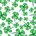 St patrick s day vector seamless background with shamrock clover seamless pattern clovers Stock Images