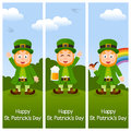 St patrick s day vertical banners a collection of three wishing a happy patricks or saint with leprechaun in the nature eps file Stock Image