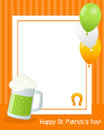 St patrick s day vertical frame patricks or saint photo with a green beer mug balloons and a horseshoe on orange background eps Stock Photos