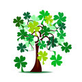 St patrick s tree abstract with green shamrocks Stock Images
