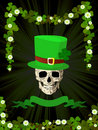 St.Patrick skull and clovers Stock Images